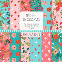 Pink & Blue Floral Digital Paper. Peony, Rose Blossom Background. Teal, Coral, Turquoise Cottage Chic Patterns. Vintage Hand Drawn Flowers.