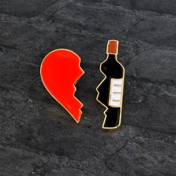 2 Piece/Set Broken Heart Wine Bottle Cartoon Enamel Brooch Badge Fashion Jewelry Pin