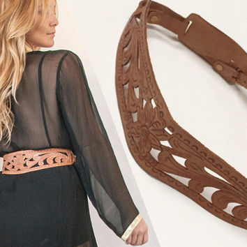 70s Tooled Leather Double Buckle Belt | Southwestern Distressed Leather Floral Hippie Belt Navajo Southwestern Mexican Unique Handmade S/M