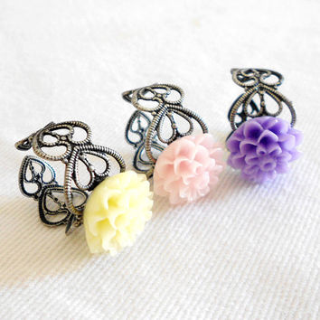 SWEETNESS Adjustable Filigree Chrysanthemum Spring Pastel Ring Set of 3