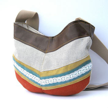 hobo // black and white striped canvas - yellow suede - teal and lace stripe - rust wool - brown vegan leather // crossbody bag
