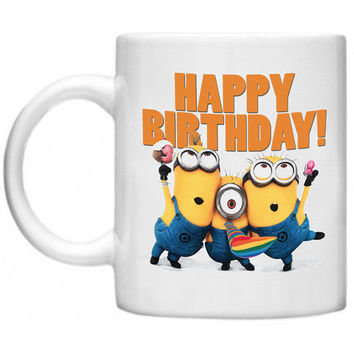 Despicable Me Minions Happy Birthday Mug Cup a Ceramics Mug - Made To Order
