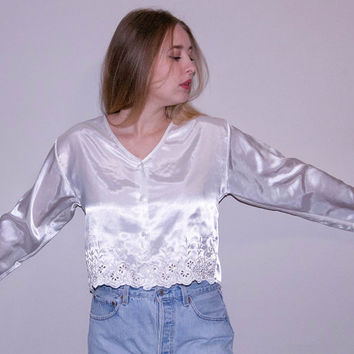 90s White Satin Top - white crop top cropped blouse 90s crop top long sleeve crop top satin blouse lace top lace blouse satin lingerie