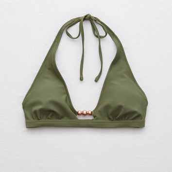 Aerie Super Scoop Beaded Bikini Top , Rugged Green