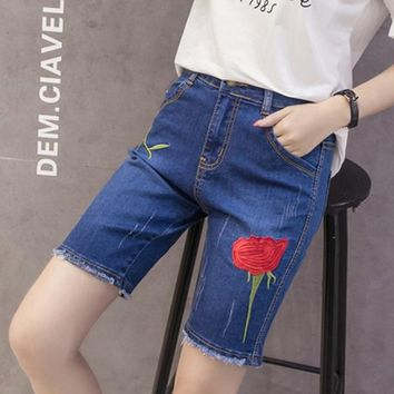 Hot Shorts Flower Embroidery Summer Short Jeans Fashion Burr Ladies  Casual Large Sizes Denim  for Women Worn Bermuda FemininaAT_43_3