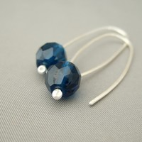 Monaco Blue Faceted Czech Glass Sterling Silver Modern Contemporary Drop Earrings | The Silver Forge Handcrafted Jewellery