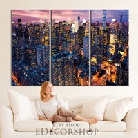Large Wall Art Canvas Print New York Manhattan at Night Photo Wall Art - 3 Panel (3 Piece) Wall Art Streched Canvas Print