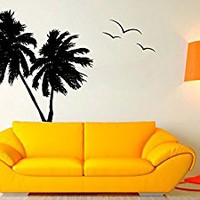 Wall Decal Vinyl Sticker Decals Art Decor Design Couple Palms Birds Branch Beach Tree Hawaii Surf Dorm Bedroom Mural Modern Office (r1033)