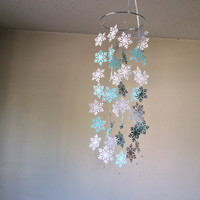 Snowflake paper mobile. Blue and white Baby nursery mobile, Crib mobile, Modern decor, Nursery mobile decor, Happy Holidays, Let it snow
