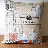Pillow Cover with Insert Tim Holtz Fabric Union Jack Flag Script Red White Tan Beige 16 x 16 Inches