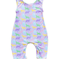 Purple & Yellow Unicorn Playsuit - Infant & Toddler