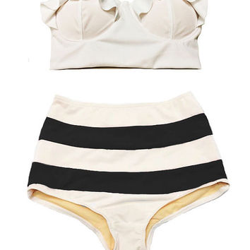 White Midkini Top and White/Black W/B Stripe High Waisted Waist Rise Shorts Bottom Swimsuit Swimwear Bikini Bathing suit Woman Womens S M