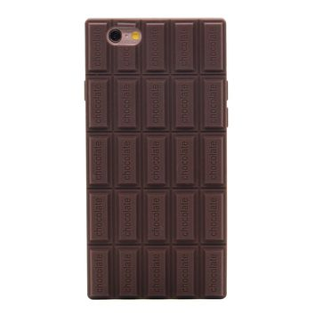 iPhone 6S Case, MC Fashion Cute 3D Brown Chocolate Bar Protective Silicone Phone Case for iPhone 6S (2015) & iPhone 6 (2014) (Brown Chocolate Bar)