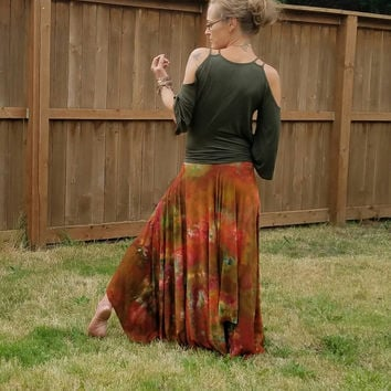Woodland ice dyed tie dyed skirt boho skirt hippie flare gypsy skirts Bohemian clothing festival clothes pixie hippy tattered hoop skirts