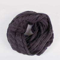 Soft Twist Knit Infinity Scarf - Charcoal