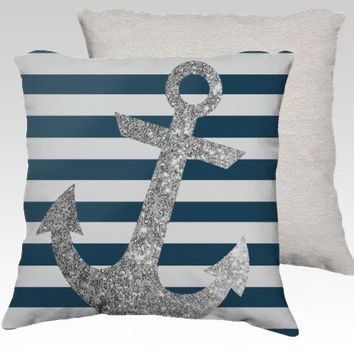 SILVER GLITTER ANCHOR pillow in navy and white // #silver #glitter #anchor #navy #white #nautical #stripes #shabby #beach #home #pillow