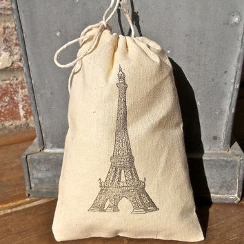 Paris Eiffel Tower Hand Stamped Cotton Muslin 4x6 Favor Bag ohh la la, very French and perfect for Weddings and other Paris Themed Events