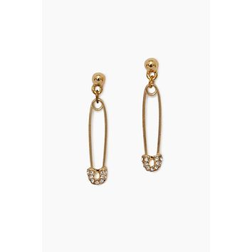 Safety Pin And Stud Earrings - Gold