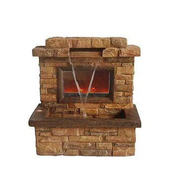 """24.75"""" Tawny and Umber Brown Faux Stone Fireplace Waterfall Outdoor Patio Garden Water Fountain"""