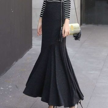 Women's Skirts Trumpet Maxi Long Aline Thick Party 50S Skirt Black