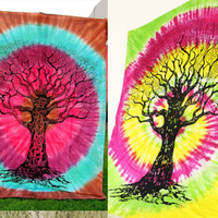 2 Tapestry Tie Dye Tree Twin Mandala Indian Handmade Wall Hanging Throw Bedsheet