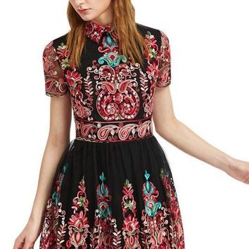 Embroidery Party Dress Women Black Vintage Mesh Overlay Skater Dresses New Cute Lapel A Line Dress