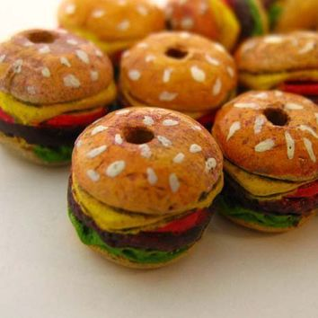 20 Tiny Hamburger Beads by TheCraftyBead on Etsy
