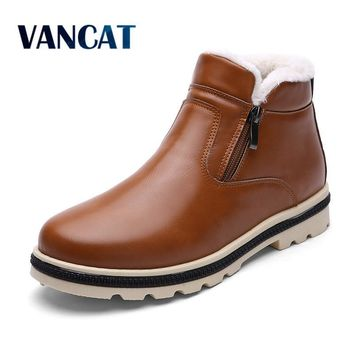 Super Warm Men's Winter Leather Boot Men Outdoor Waterproof Rubber Snow boots Leisure Martin Boots England Retro shoes for men