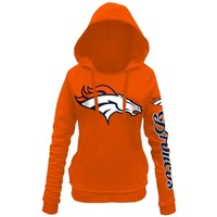 Women's Denver Broncos 5th and Ocean by New Era Orange Snap Count Pullover Hoodie