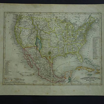 USA old map 1850 original hand colored antique print of New Mexico Territory Texas Yucatan Mexico - vintage maps 23x30c 9x12""