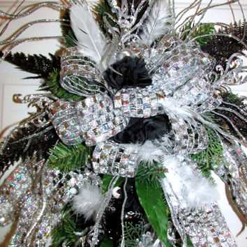Blingy Silver and black swag, Luxury wreath, deco mesh wreath, Christmas decor, New Years decor, Silver wreath, Black wreath