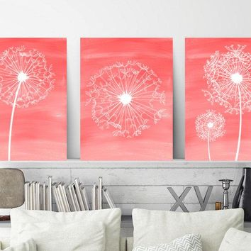 DANDELION Wall Art, Coral Bathroom Decor, Baby Girl Nursery Art, Coral Bedroom Wall Decor, CANVAS or Prints, Set of 3, Home Decor Wall Decor