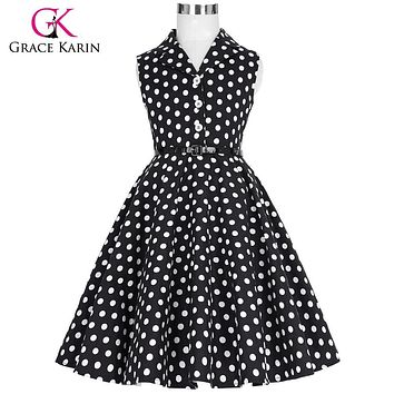 Grace Karin 2017 Flower Girl Dresses for Weddings Party Children Kids Girls First Communion Dress Vintage Polka Dots Dress