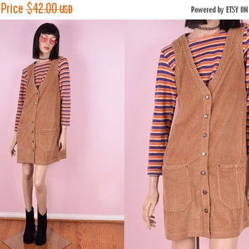 ON SALE 90s Tan Corduroy Button Down Dress