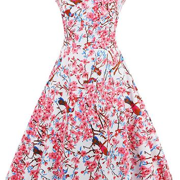Atomic 1950's Ancient Chinese Inspired Print Dress