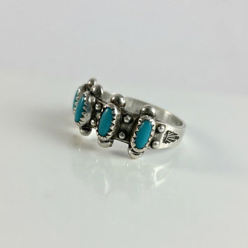 Turquoise Silver Ring Size 6 - Sterling & Turquoise Size 6 Ring - Vintage Bell Trading Post Ring