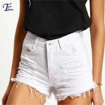 Female Vintage High Street Clothing 2016 Summer Solid White High Waist Ripped Pockets Button Fly Skinny Denim Shorts