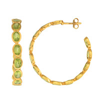 Eternity Style Hoop Earrings Of Peridot Set In Yellow Gold Finished Sterling Silver