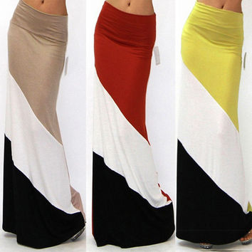Color Blocked Knitted Maxi Skirt