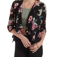 Floral Print Cascade Blazer by Charlotte Russe