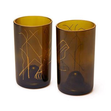 Brooklyn Subway Map Tumblers - Set of 2 | recycled wine bottle, glass set, brooklyn, gold