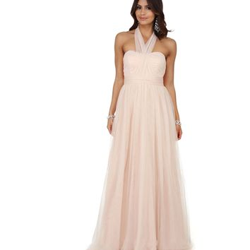 Angie Champagne Convertible Prom Dress