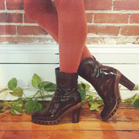 Vintage 90s Italian PATENT LEATHER Platform Aquatalia Designer Chocolate Brown Studded Water Resistant Chunk Heel Ankle Boots || Size 6.5