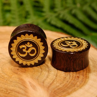 Om wood plugs tunnels, ohm ear gauges, double flare tribal aum organic tamarind wood natural hippie 0g 00g 1/2 9/16 5/8 11/16 3/4 7/8 1 inch