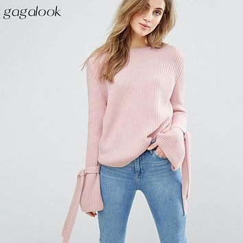 Winter Sweater Women Ribbon Tie Bell Sleeve Cut Out Back Knitted Sweater Ladies Pullovers Jumper