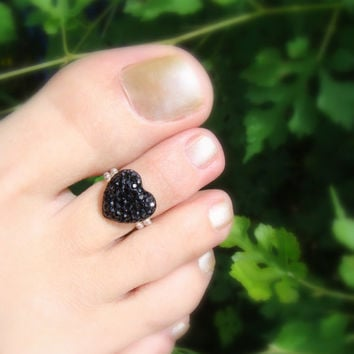 Toe Ring - Black Crystal - Heart - Stretch Bead Toe Ring