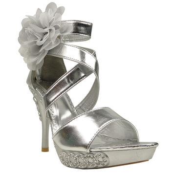 Womens Dress Sandals X-Strap and Tulle Flower Back Zipper Closure Silver SZ