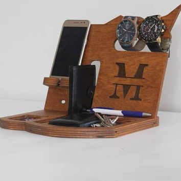 Personalized men desk organizer wood Gift for Men Mens birthday gift Anniversary gift Wooden docking station