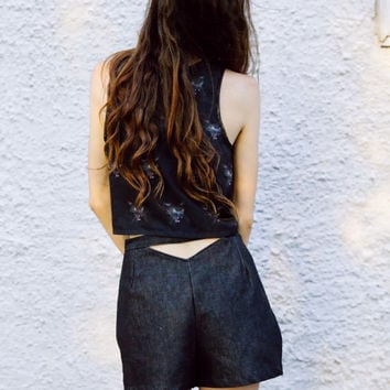 Cut-ups - Black denim shorts with cut out back