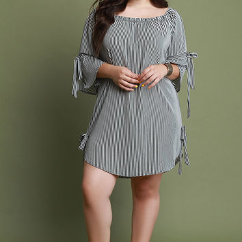 Striped Self-Tie Bell Sleeve Shift Dress | UrbanOG